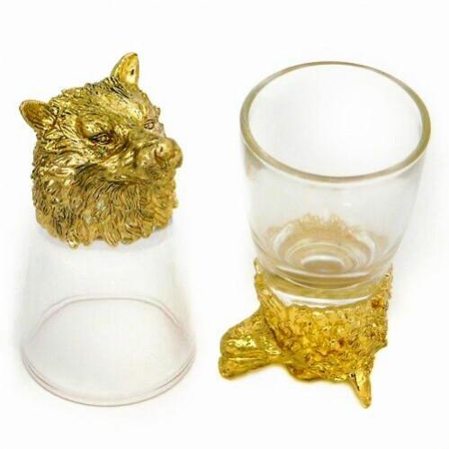 R-94762  (20) Набор из 2-х стопок с волком зол. 24k Goldplated