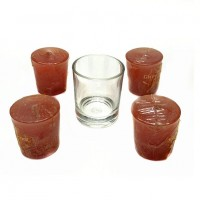 "Набор ""4 свечи и стаканчик"", аромат. 4цвета  арт. 1-203  10*15см"