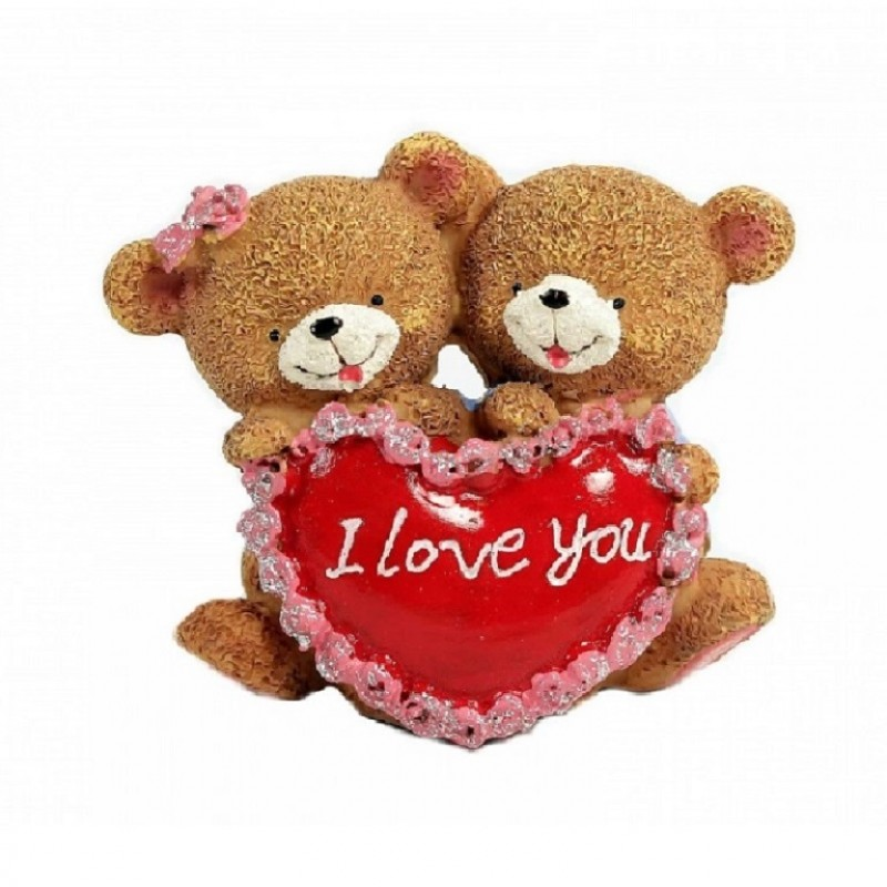 C10591  (1-96) Фигурка Пара медвежат с сердцем 2 вида, 9*5*9см