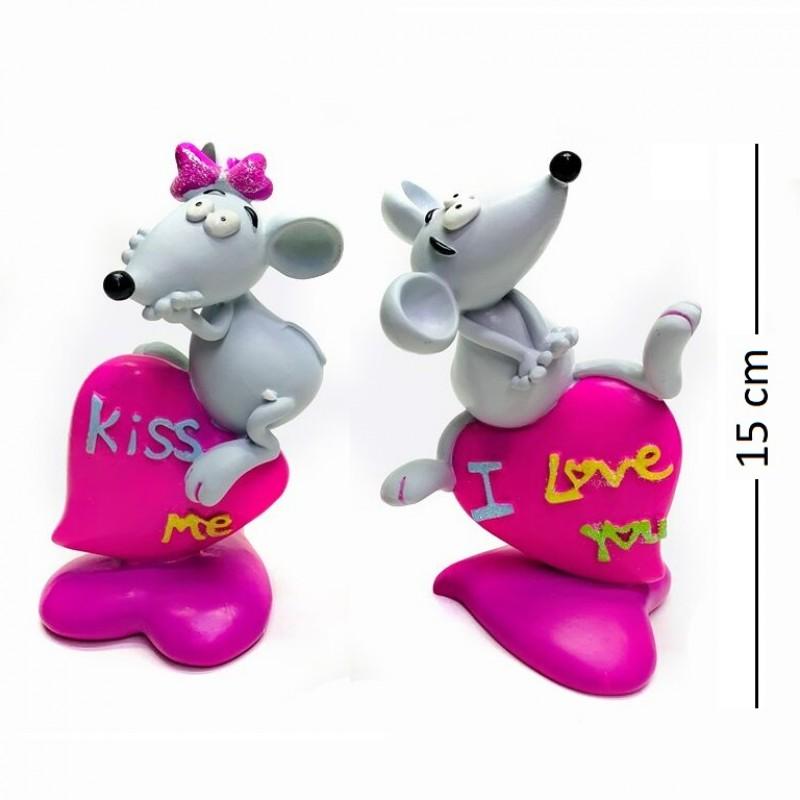 AY60001  Крыса (1-60) на сердечке, 2 вида, 10*8*15см
