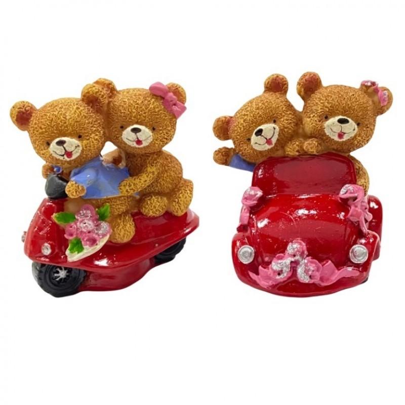 C10595  (2-96) Фигурка Пара медвежат на мотоцикле 2вида 7*6,5*8см