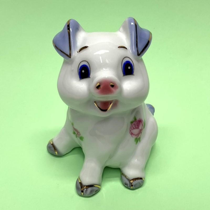 HEN27219  (1-96) Фигурка Свинка, фарфор 8*8*10см