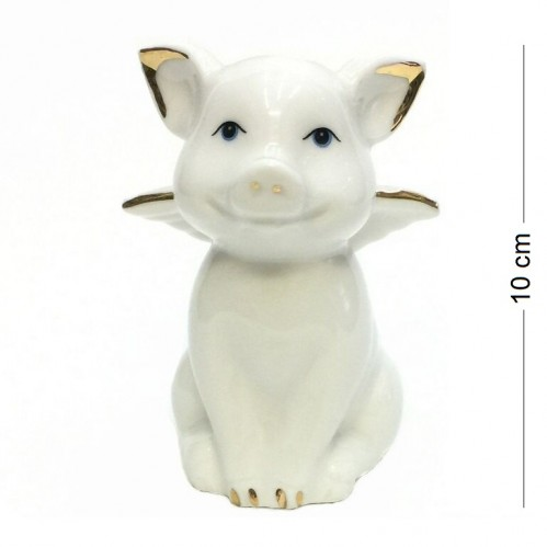 DIN3095  (1-180) Фигурка Свинка-ангел, фарфор 6*6*8см