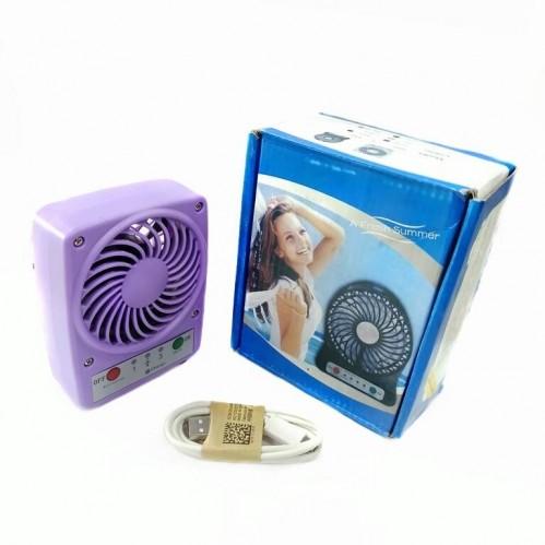 Вентилятор портативный на аккумуляторе F001 Usb. Фиолетовый 9*3,5*11,5см
