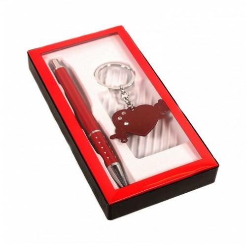 MML14328  (1-240) Набор -ручка металл. с брелком - сердце со стрелой  8.5*16*1.5см
