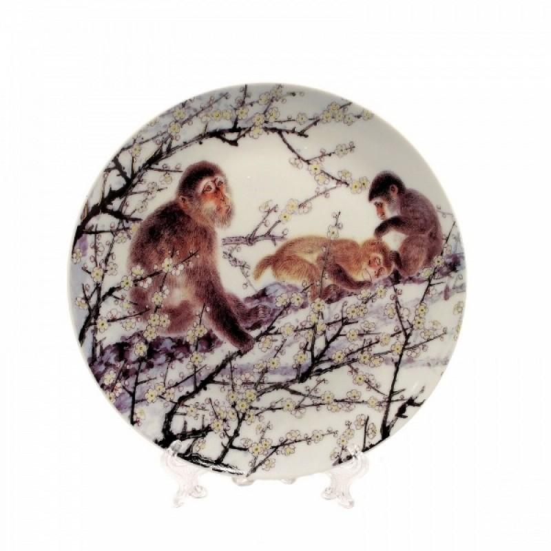 P13443 (1-36) Декоративная тарелка-обезьяна 18см