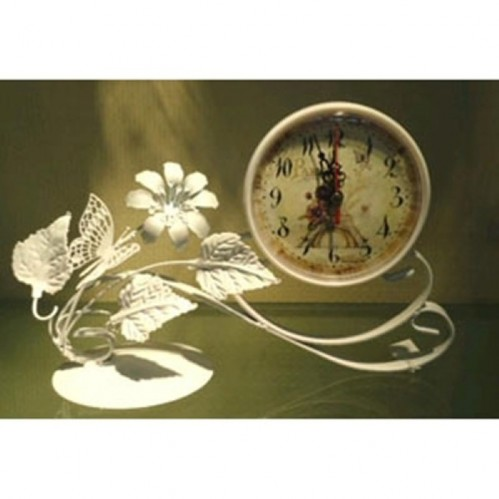 MML15999  (1-54) Часы мет. бел. с бабочками 25*10*18см