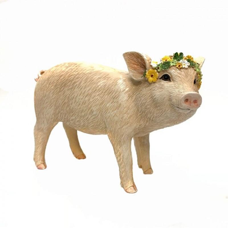 KEN78429  (1-18) Свинья с веночком 19*8*14см