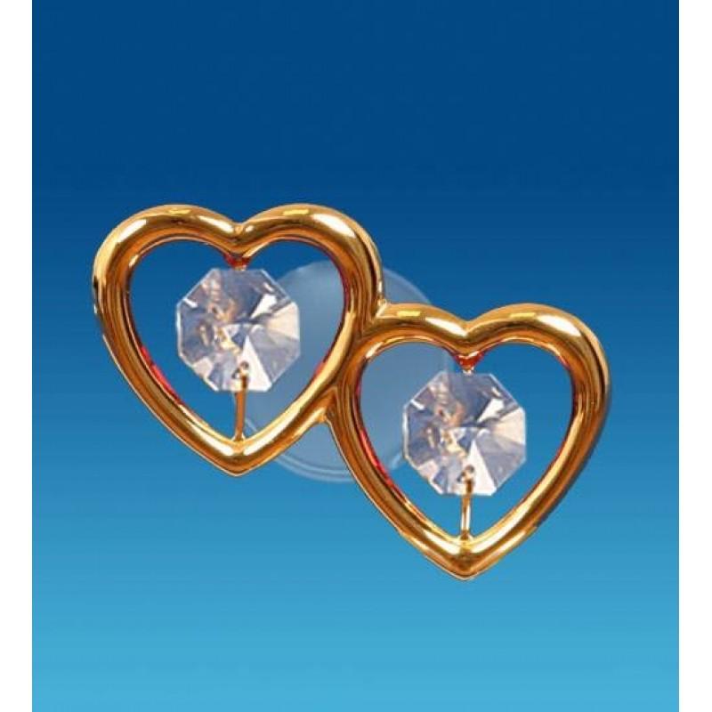 Swarovski 3115 Фигурка на присоске Два сердца 6*4*2,5см