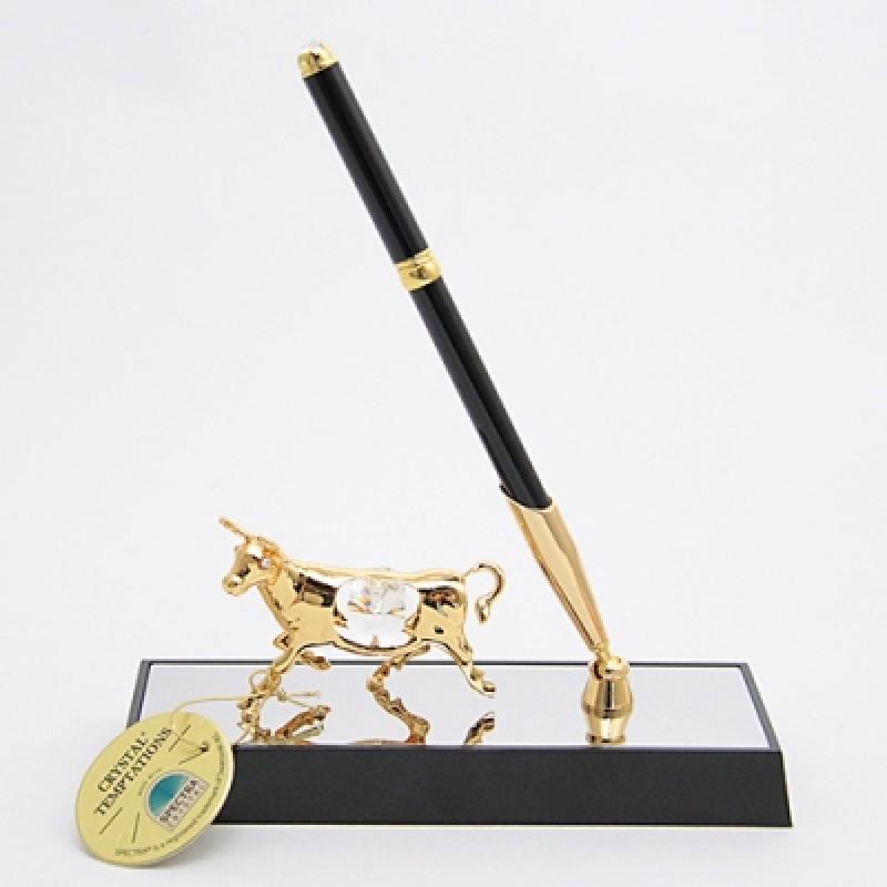 M-ST-5529-17H3/CLG  (36) Ручка на подставке с быком 20*6*16см с 2 прозрачными хрусталиками
