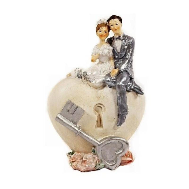 PLA16863  (48) Статуэтка Свадебная пара, полистоун  13см