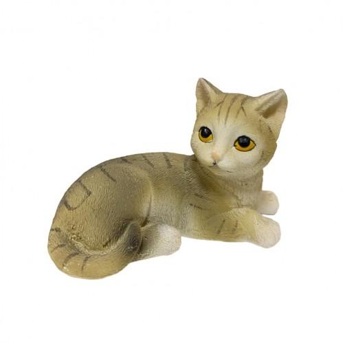 KEN77857  (4-96) Фигурка Кошка серая полосатая, 11см