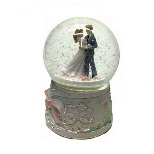 NX26345 (1-12) Свадебная пара, крутящеся, в шаре с музыкой 15 см