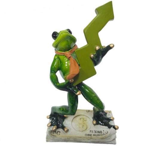 049057  (1-16)  Фигурка Лягушка брокер, 11*6,8*19 см