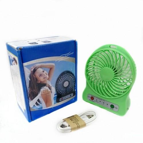 Вентилятор настольный на аккумуляторе F002 Usb. Зелёный 11*4*14см