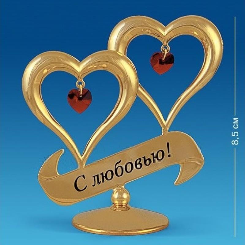 Swarovski 3908/GR Фигурка Два сердца на подставке