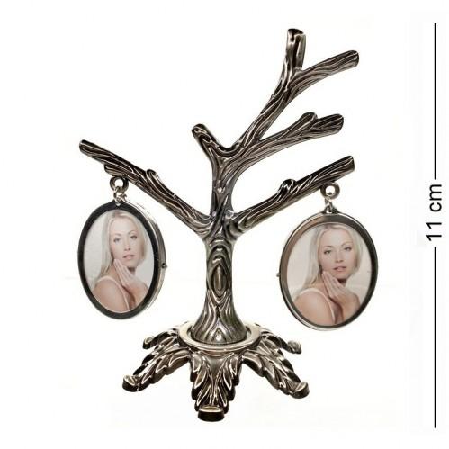 MML14092  (144) Фоторамка Семейное дерево на 4 фото, двухсторонняя 11*11см, размер фото 2,8*3,5см (овал)