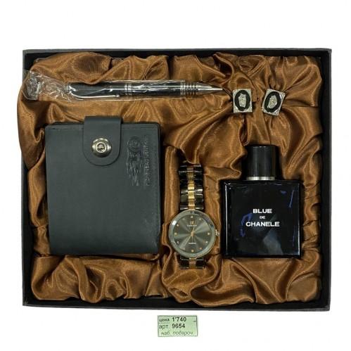 Набор  PJ9654 мужской, подарочный, часы, туалетная вода, ручка, запонки, портмоне, 26*22*4см