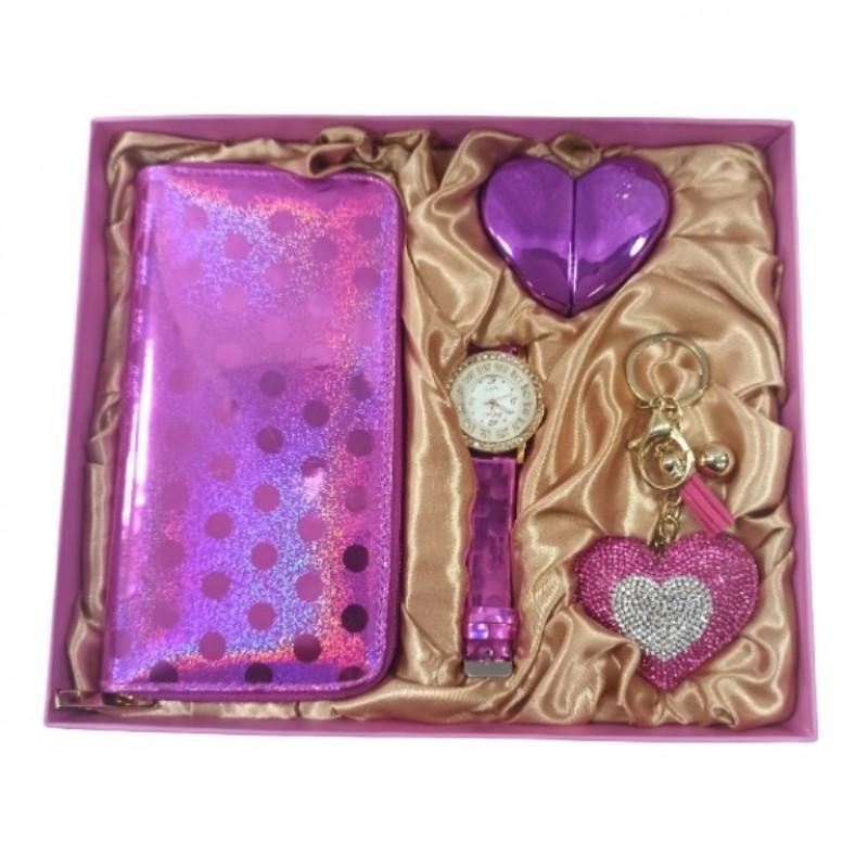 NS-796 Набор женский, подарочный , часы, брелок, туалетная вода, кошелёк, 26*22*4,5см