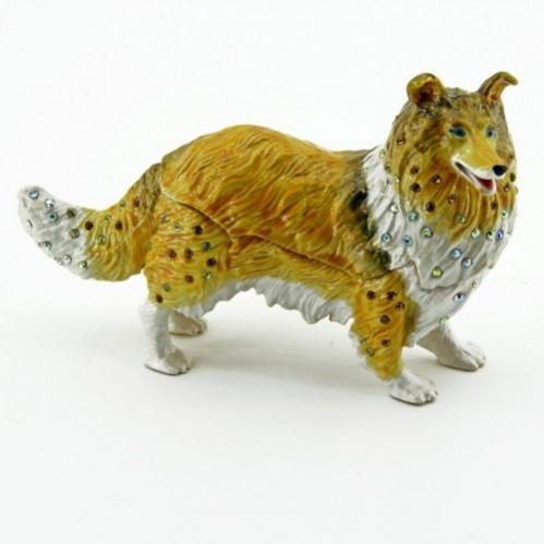 Шкатулка со стразами  BP-17951 Собака шелти 13*8см
