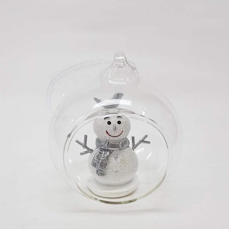 KEN78350  (3-72) Снеговик в стекл. шаре 8*7*9см
