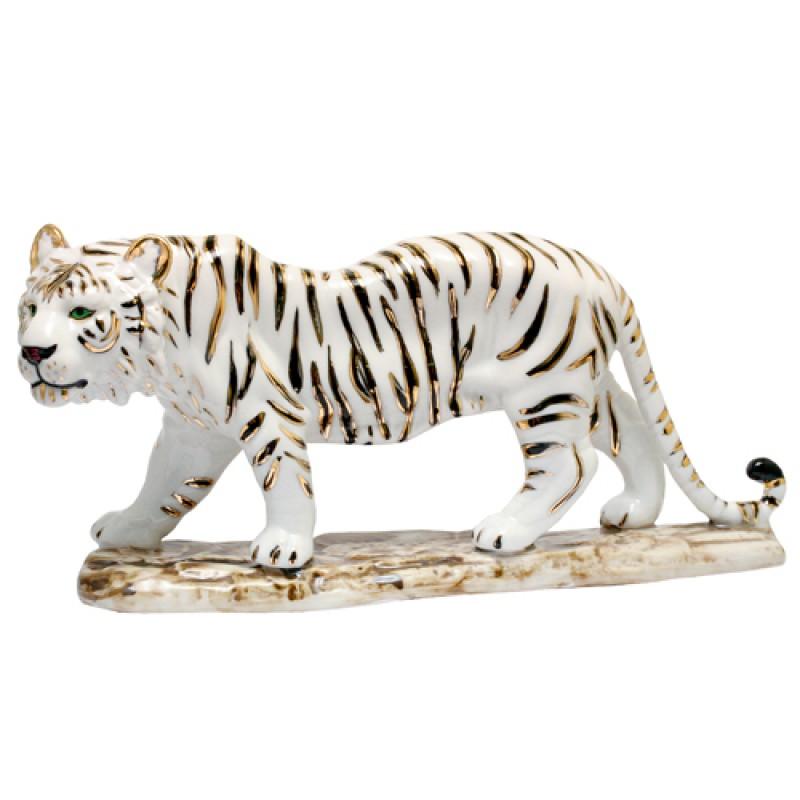 D-110114B  (16) Фигурка Тигр белый на подставке, фарфор 11*24см