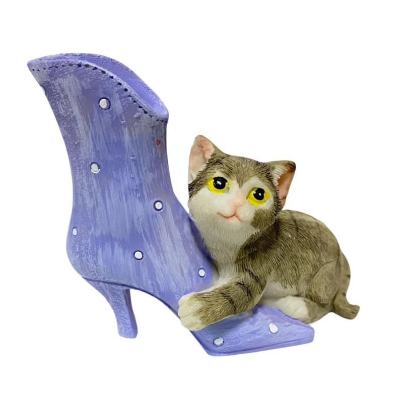 KEN78699  (6-144) Кошка с сапогом 9.5*4*8.5см