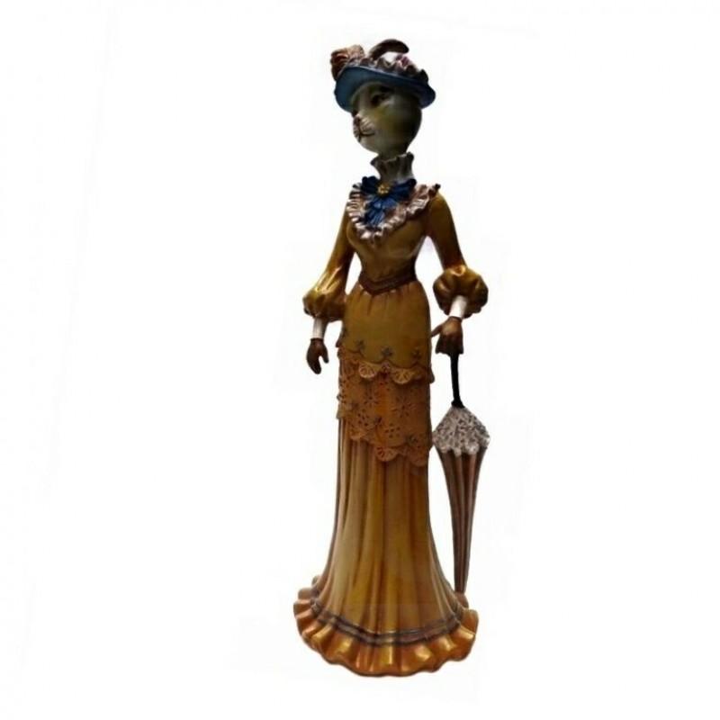 L53715  (1-12) Кошка в платье с зонтиком 11.5*10*30.5 см