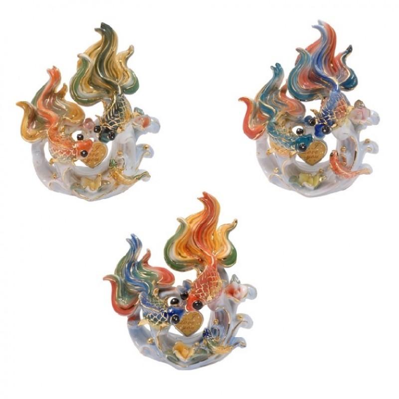 2105011  (48)  Фигурка Золотые рыбки с сердечком 3 цвета 12см