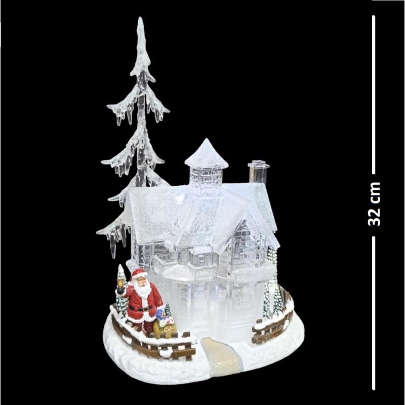 AK8310  (1-4  ) Домик с дедом морозом с подсветкой, музыкальный, 21*18*32 см