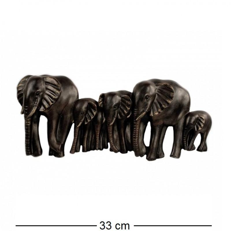 KEN78049  (2-24) Панно Пять слонов под чугун, 33*3*14см