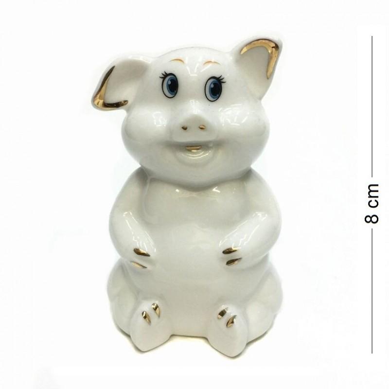 DIN3111  (1-144) Фигурка Свинка, фарфор 6*5*8см