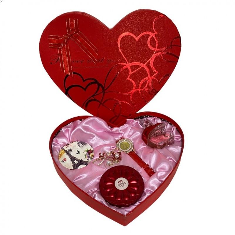 NS-709 Набор женский, подарочный , косметичка, зеркало, часы, брошь, туалетная вода 29*4,5*25см