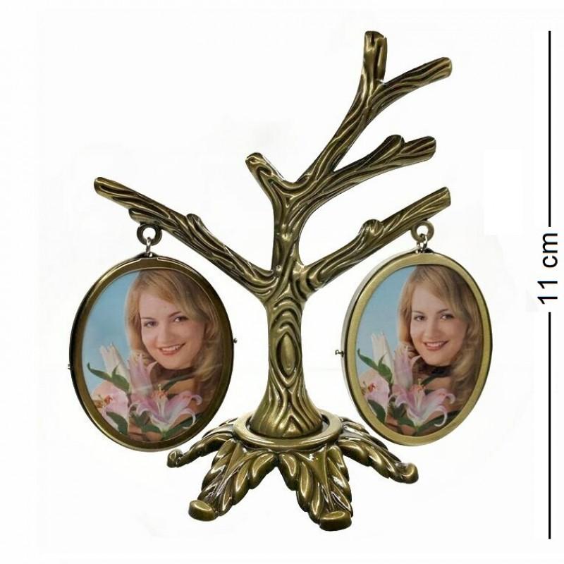 MML14093  (144) Фоторамка Семейное дерево на 4 фото, двухсторонняя 11*11см, размер фото 3,5*4,5см (овал)