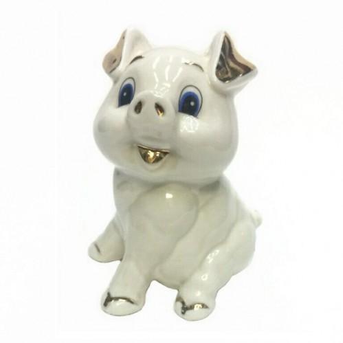 HEN27189  (1-96) Фигурка Свинка, фарфор 8*8*10см