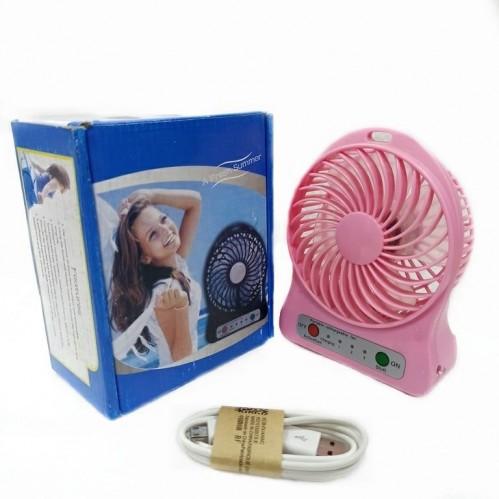 Вентилятор настольный на аккумуляторе F002 Usb. Розовый 11*4*14см