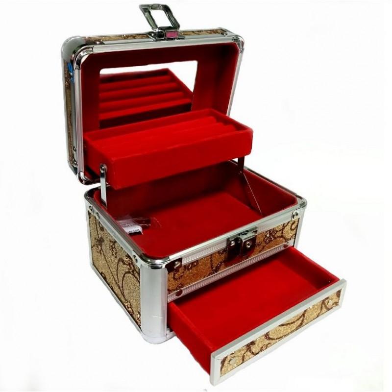 KH-1411  (24) Кейс-шкатулка для украшений, металл, 4 вида, 16*12*14см