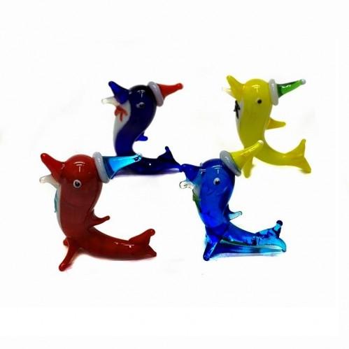 Стекло  168 -1 (4-100) фигурка стекло дельфин 4 цвета. 5*4см