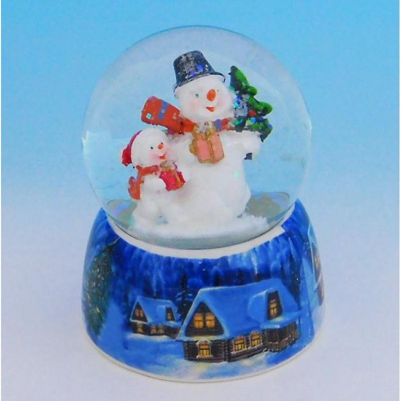 HY-15733 (32) Стеклянный шар со снеговиками, на фарфоровой подставке D=6,5см, H=9см