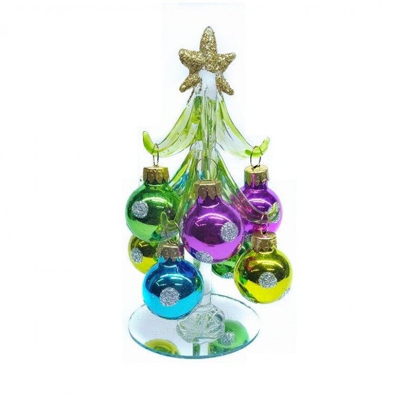 GLT10041  (1-72) Елка стекл. с 8-ю шарами 2,5 см  13см