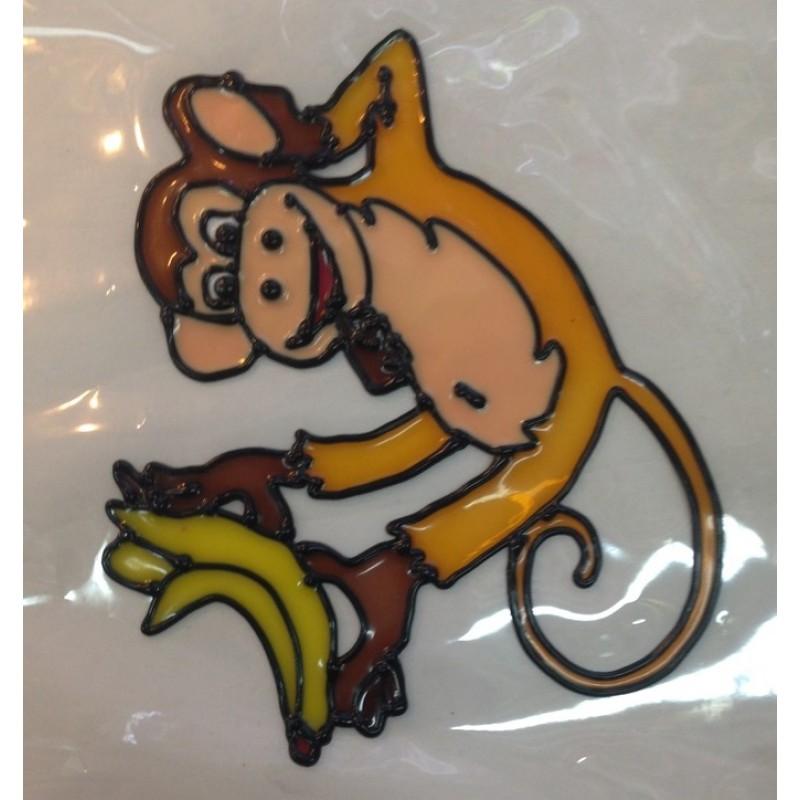MML14221  (1-720) Наклейка Обезьяна с бананами16см