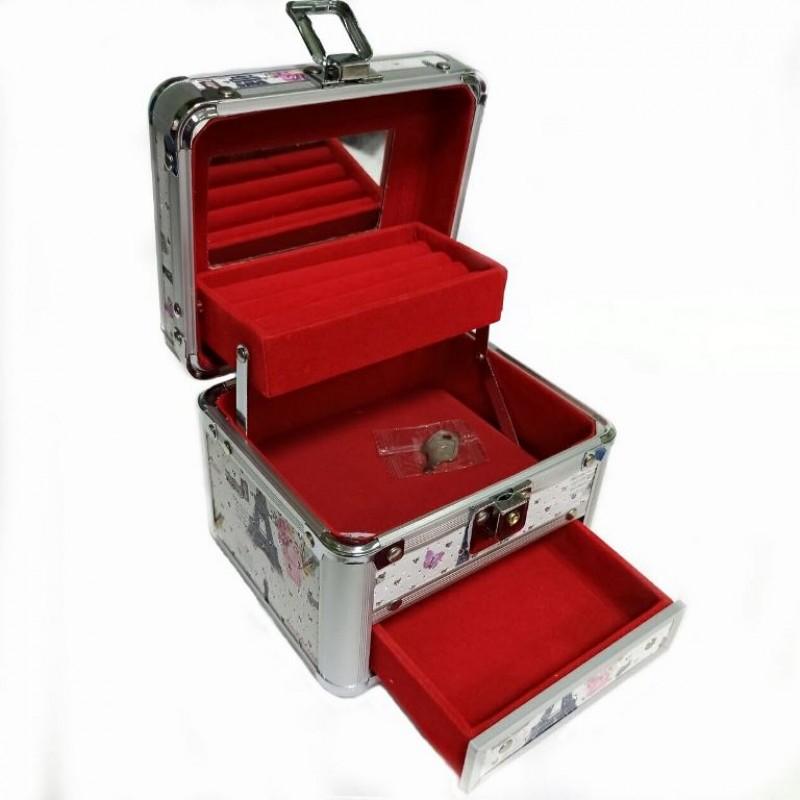 KH-1405  (36) Кейс-шкатулка для украшений, металл, 4 вида 14*12*14см