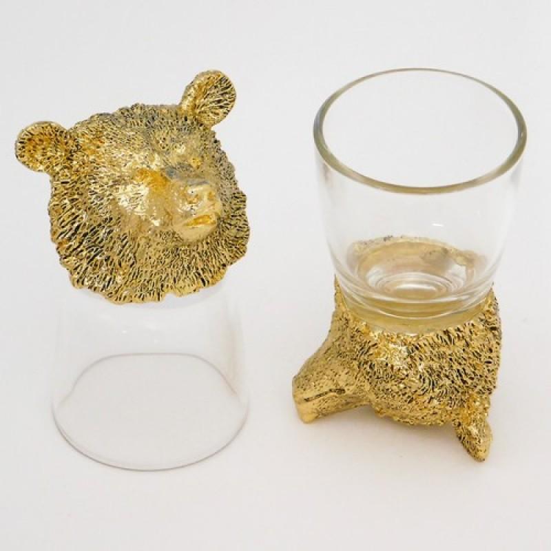 R-94758  (20) Набор из 2-х стопок с медведем зол. 24k Goldplated d=4.5см h=8.5см