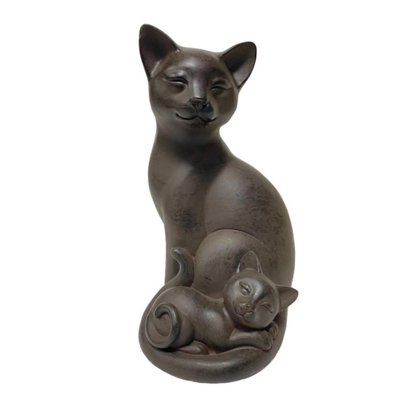 KEN78168  (1-18) Фигура Кошка с котенком под чугун, 12*11*20см