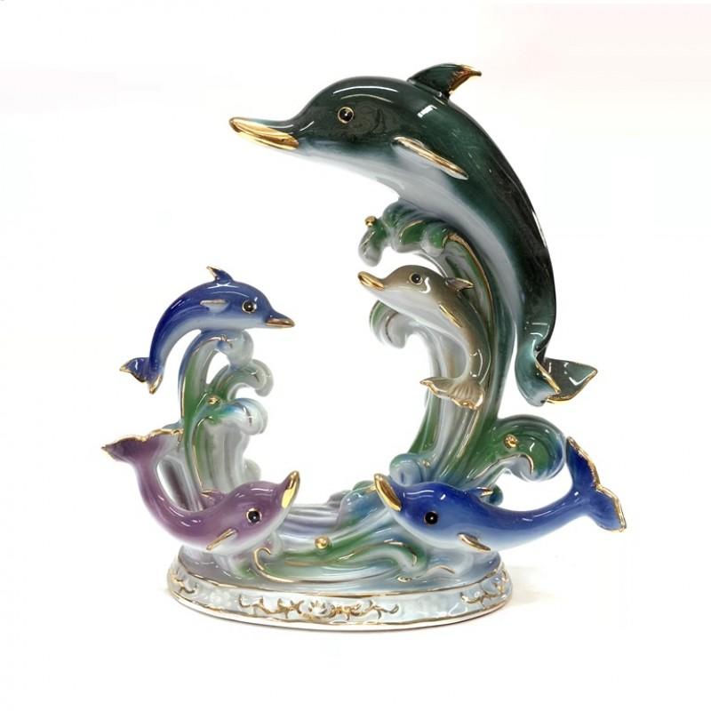 D-08064  (24) Фигурка Дельфины на волне, фарфор 19см