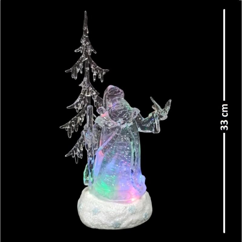 AK8403  (1-6) Санта с музыкой, светом и снегом 16*12*33см
