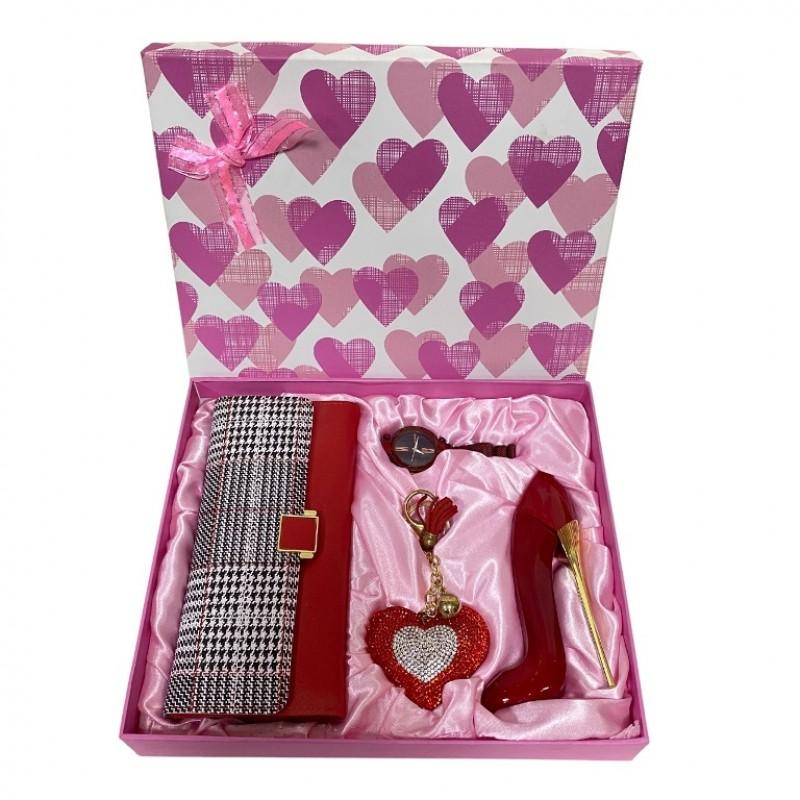 NS-779 Набор женский, подарочный , часы, брелок, туалетная вода, кошелёк, 26*22*4,5см