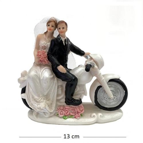 046010  (1-48) Статуэтка Свадебная пара на мотоцикле 2вида 13*6*12см