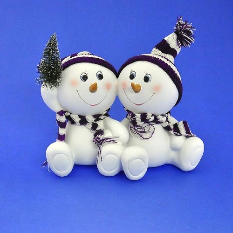 LR-1471  (12) Пара снеговиков в шапке 23*11*15см.