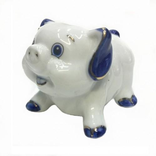 HEN27181  (1-120) Фигурка Свинка, фарфор 9*7*7см